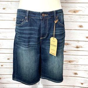 Lucky Dark Wash Distressed Bermuda Jean Shorts 10